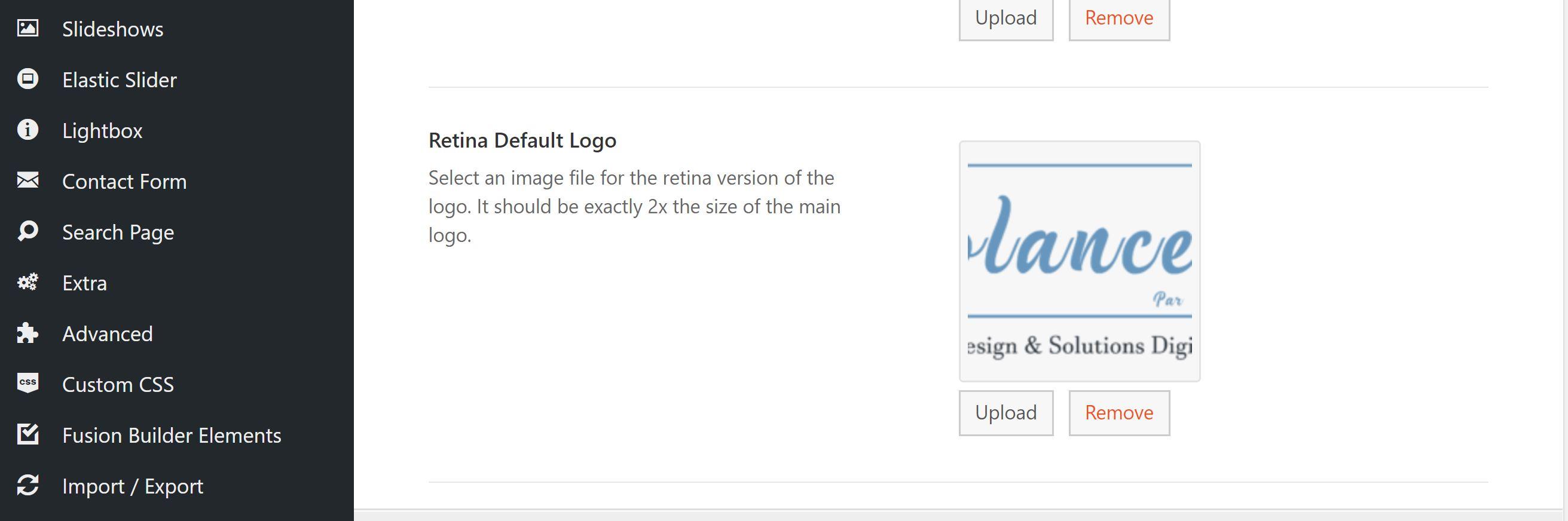 emplacement pour uploader le logo retina